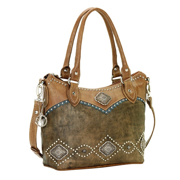 American West Convertible Zip Top Tote Bag