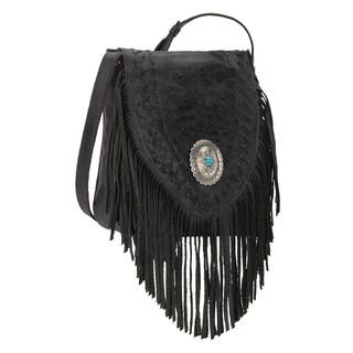 American West Seminole Black Fringe Crossbody Bag