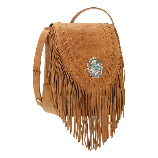 American West Seminole Tan Fringe Crossbody Bag
