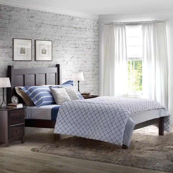 Grain Wood Furniture Shaker Solid Wood Full Size Panel Platform Bed