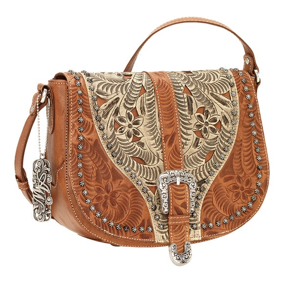 American West Blazing Saddle Brown/ Cream Crossbody Bag