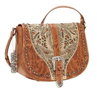 American West Blazing Saddle Brown/ Cream Crossbody Bag