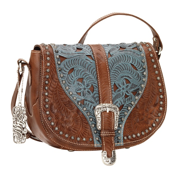 American West Blazing Saddle Brown/ Blue Crossbody Bag