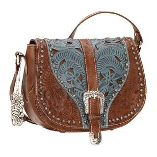American West Blazing Saddle Brown/ Blue Crossbody Bag