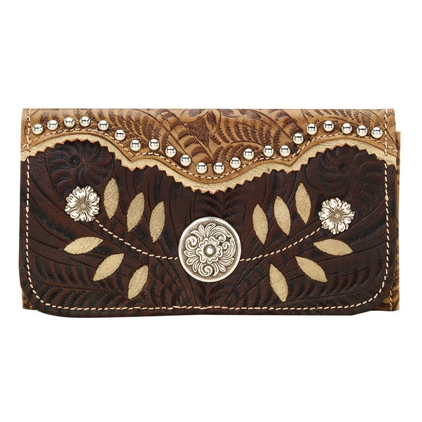 American West Woodland Bloom Leather Wallet