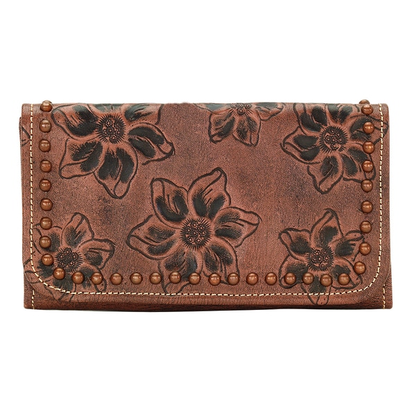 American West Light Brown Flower Child Wallet