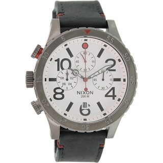 Nixon Men's 48-20 A363486 Black Leather Quartz Watch