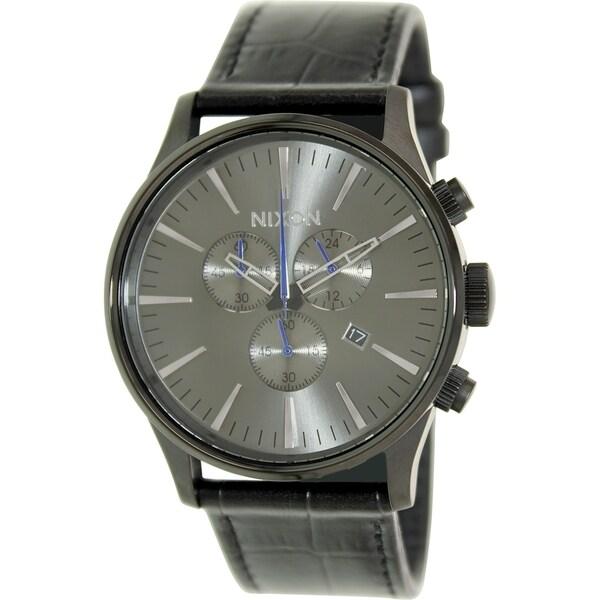 Nixon Men's Sentry A4051886 Black Leather Quartz Watch