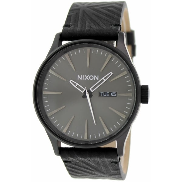 Nixon Men's Sentry A1051617 Black Leather Quartz Watch