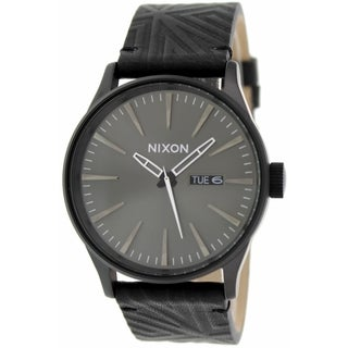 Nixon Men's Sentry A1051617 Black Leather Quartz Watch