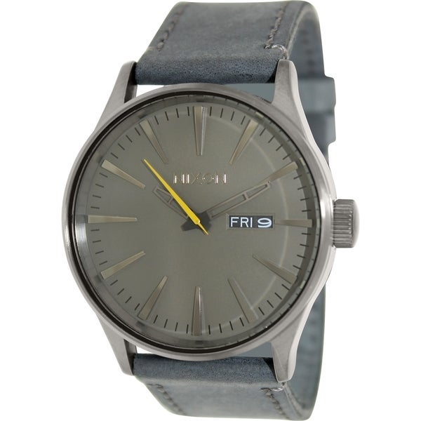 Nixon Men's Sentry A1051893 Grey Leather Quartz Watch