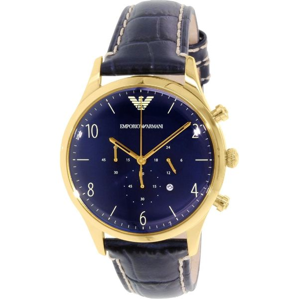 Emporio Armani Men's Classic AR1862 Blue Leather Quartz Watch