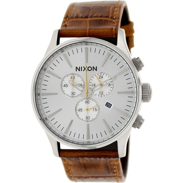 Nixon Men's Sentry A4051888 Brown Leather Quartz Watch