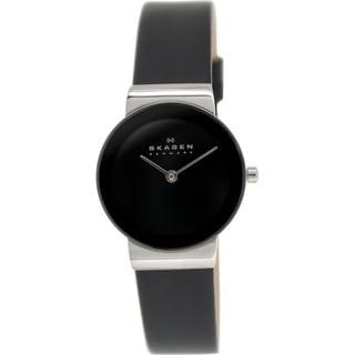 Skagen Women's Freja 358SSLB Black Leather Quartz Watch