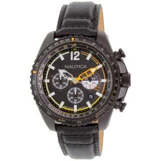 Nautica Men's Nmx 1500 NAD22506G Black Leather Quartz Watch