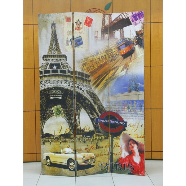 Trudy 3-panel Wooden Effiel Tower Scene Screen