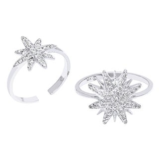 Beverly Hills Charm Set of Two 14K White Gold 2/5ct TDW Diamond Star Rings (H-I, SI2-I1)