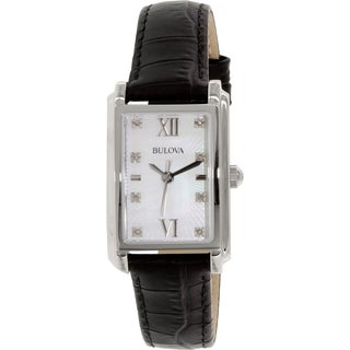 Bulova Women's 96P156 Black Leather Quartz Watch