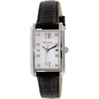 Bulova Women's 96P156 Black Leather Quartz Watch