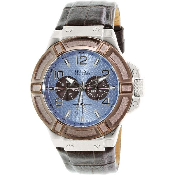 Guess Men's U0040G10 Brown Leather Quartz Watch