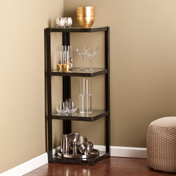 upton home distressed black metal and glass corner shelf bargain bin