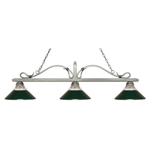 Z-Lite Melrose 3-light Island/Billiard Clear Ribbed Glass and Dark Green-finished Light 16031723