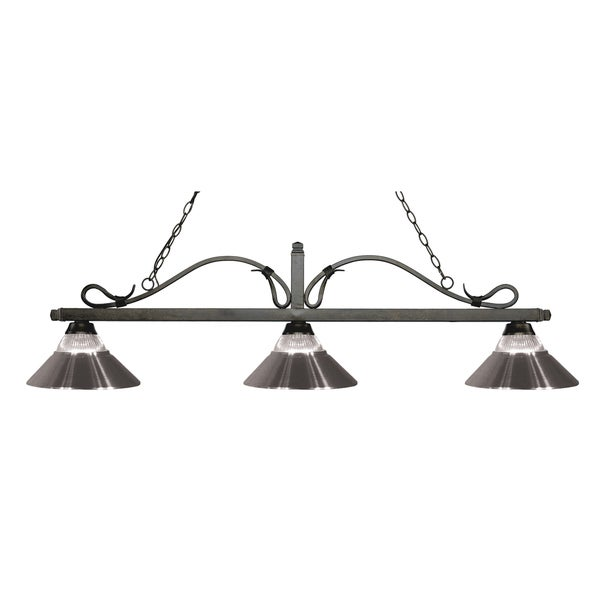 Z-Lite Melrose 3-light Island/Billiard Clear Ribbed Glass and Brushed Nickel-finished Light 16031836