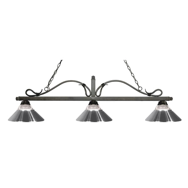 Z-Lite Melrose 3-light Island/Billiard Clear Ribbed Glass and Chrome-finished Light 16031837
