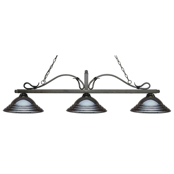 Z-Lite Melrose 3-light Island/Billiard Stepped Gun Metal-finished Light