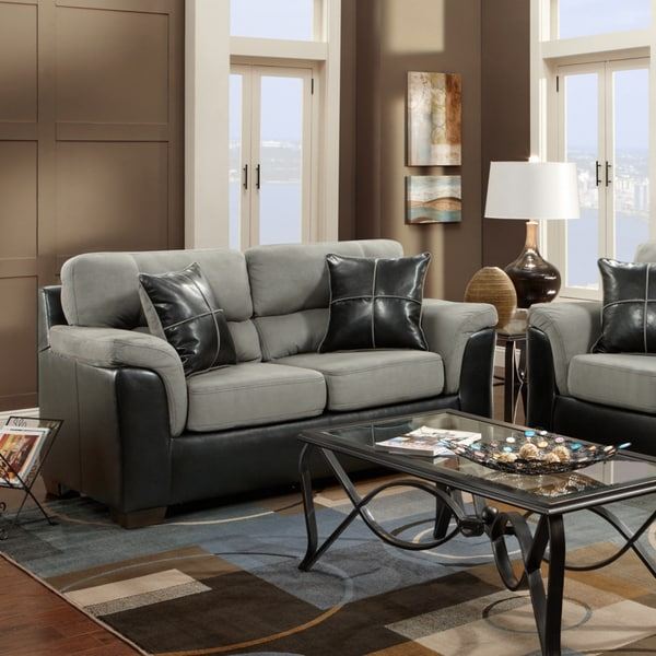 Laredo 2-tone Loveseat, Black and Grey