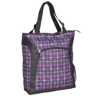 Everest Purple Plaid 15-inch Laptop Tote Bag