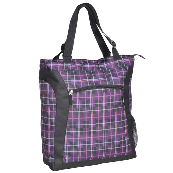 Everest Purple Plaid 15-inch Laptop Tote Bag