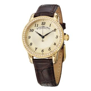 Stuhrling Original Women's Symphony Swiss Quartz Brown Crystal Leather Strap Watch