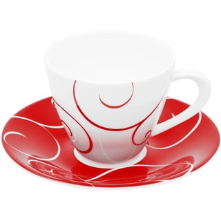 Panache Rouge 10-ounce Tea Cup and Saucer (Set of 6)