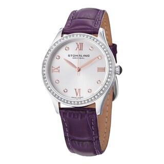 Stuhrling Original Women's Vogue Swiss Quartz Purple Crystal Leather Strap Watch