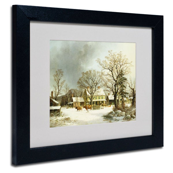 George Durie 'Seven Miles to Salem 1863' White Matte, Black Framed Wall Art
