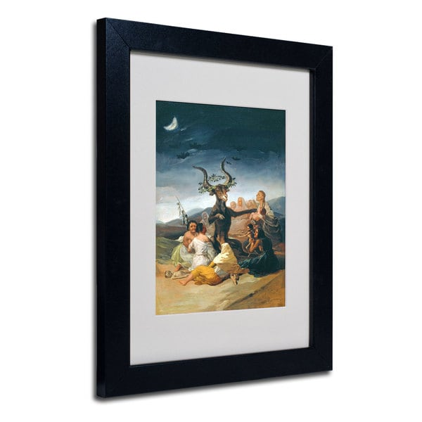 Francisco Goya 'The Witches' Sabbath' White Matte, Black Framed Wall Art