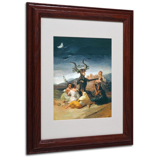 Francisco Goya 'The Witches' Sabbath' White Matte, Wood Framed Wall Art
