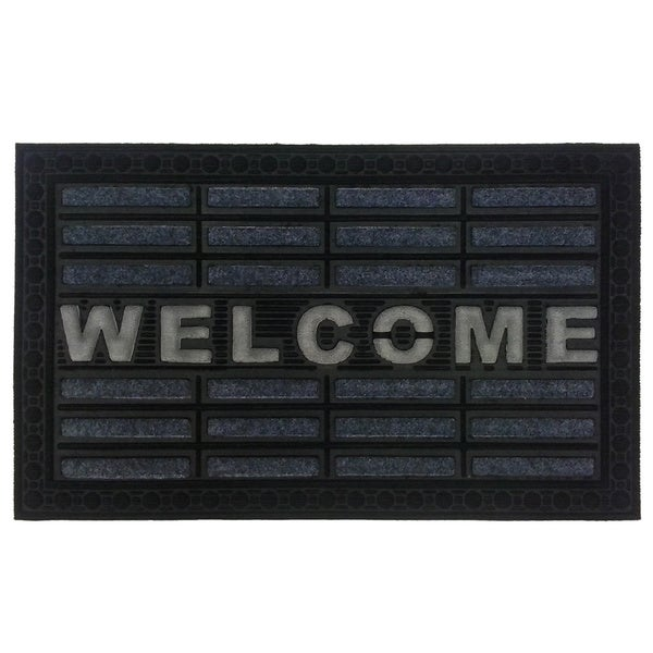 Grey Welcome Rubber Doormat