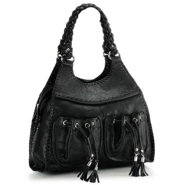 Phive Rivers Black Leather Hobo Handbag (Italy)