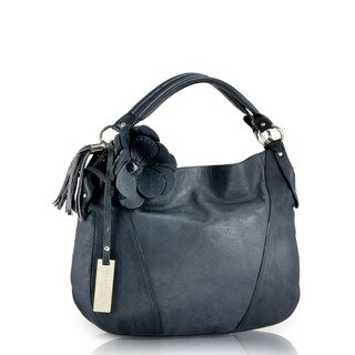 Phive Rivers Blue Leather Hobo Handbag (Italy)