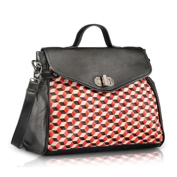 Handmade Phive Rivers Black Leather Satchel Handbag (Italy) 16032797