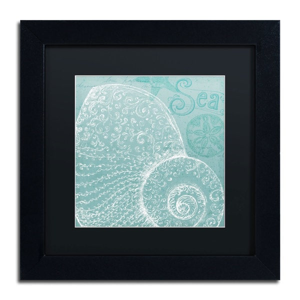 Daphne Brissonnet 'Aqua Treasure IV' Black Matte, Black Framed Wall Art