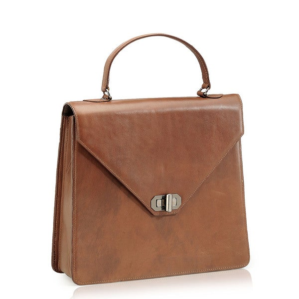 Phive Rivers Brown Leather Satchel Handbag (Italy)
