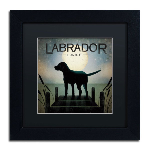 Ryan Fowler 'Moonrise Black Dog Labrador Lake' Black Matte, Black Framed Wall Art