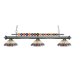 Z-Lite Shark 3-light Island/Billiard Multi Colored Tiffany-finished Light