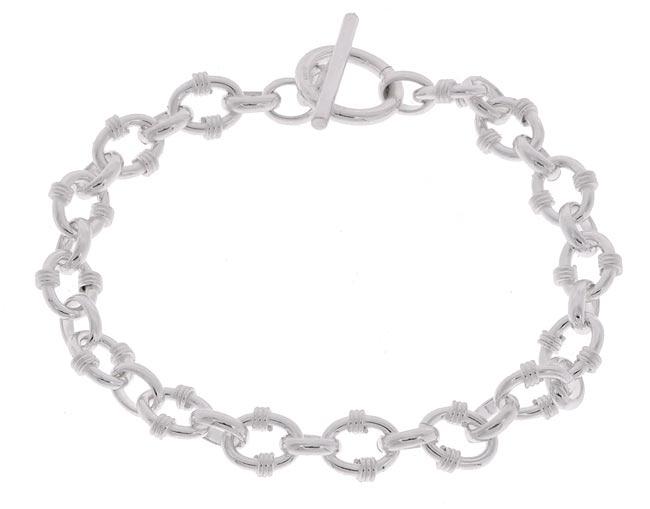 Sterling Essentials Sterling Silver 7.5-inch Oval Link Toggle Bracelet