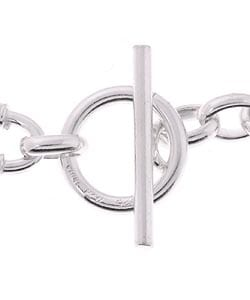 Sterling Essentials Sterling Silver 7.5-inch Oval Link Toggle Bracelet