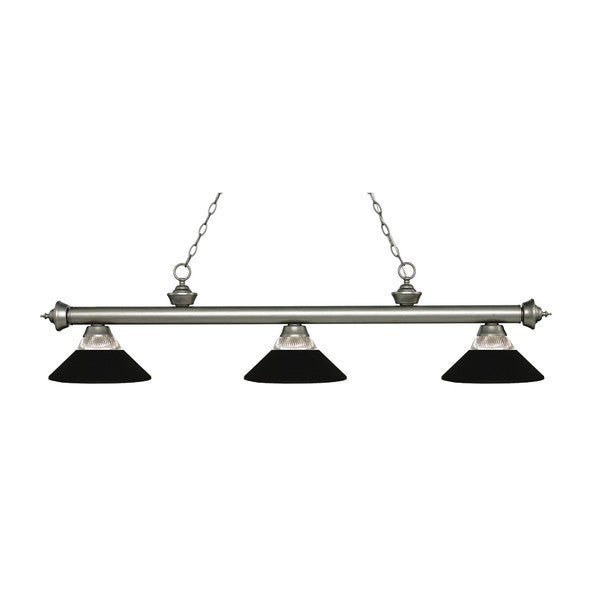 Z-Lite Riviera Antique Silver 3-light Island/Billiard Clear Ribbed Glass and Matte Black-finished Light 16033099