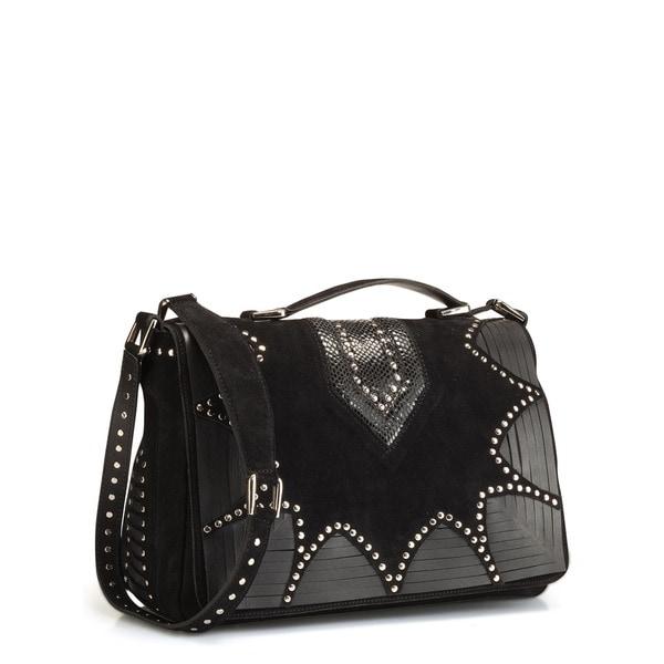 Phive Rivers Black Leather Crossbody Handbag (Italy)